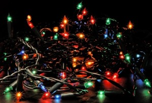 Tangled Christmas tree lights...